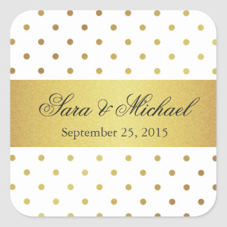 Modern Monogrammed - White and Gold Polka Dots Square Sticker