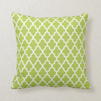 Modern Moroccan Lattice Pattern In Bright Green Throw Pillow