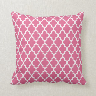 Modern Moroccan Lattice Pattern In Pink Throw Pillow