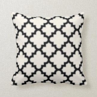 Modern Moroccan Quatrefoil in Cream Black Grey Cushion
