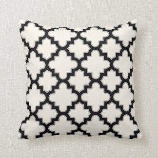 Modern Moroccan Quatrefoil in Cream Black Grey Throw Pillow