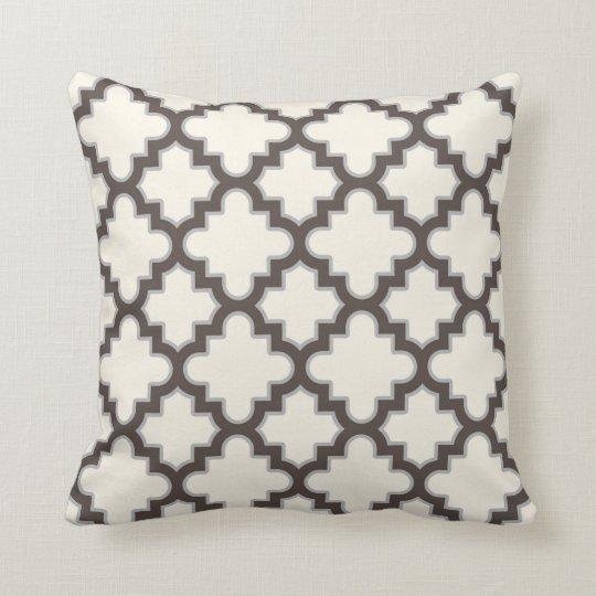 Modern Moroccan Quatrefoil in Cream Brown Grey Cushion