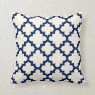 Modern Moroccan Quatrefoil in Cream Navy Blue Grey Throw Cushion