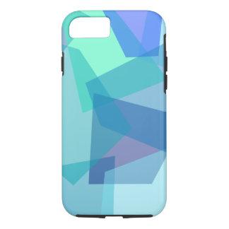 Modern Mosaic Cubism in Blue Teal Aqua Shapes iPhone 7 Case
