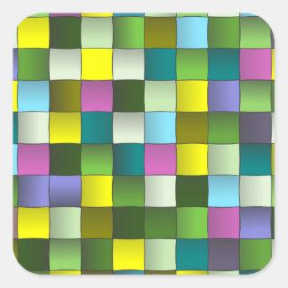 Modern Mosaic Woven Pattern Square Stickers