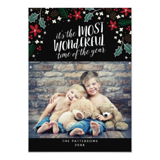 Modern Most Wonderful Holiday Greetings Photo Card 13 Cm X 18 Cm Invitation Card