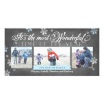 Modern Most Wonderful Time Holiday Chalkboard Picture Card