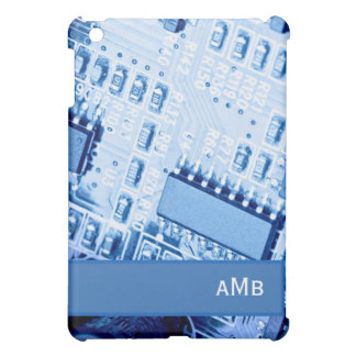 Modern Motherboard Pattern in Blue Colors iPad Mini Cases