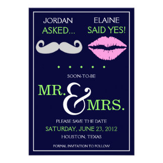 Modern Moustache Lips Mr. & Mrs. Save the Date Custom Announcements