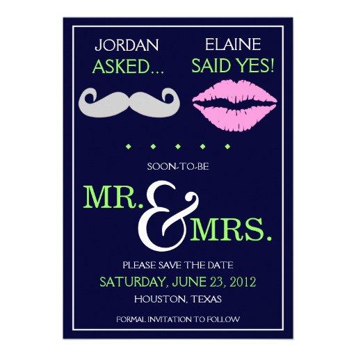 Modern Moustache Lips Mr. & Mrs. Save the Date Custom Announcement