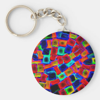 Modern Multi Color Neon Abstract Pattern Basic Round Button Key Ring