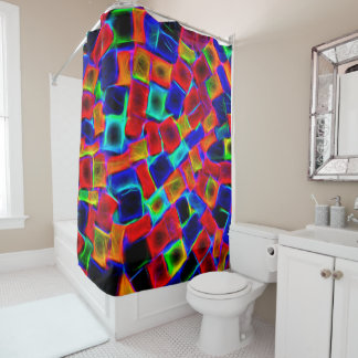 Modern Multi Color Neon Abstract Pattern Shower Curtain