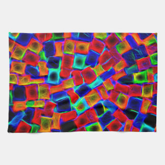 Modern Multi Color Neon Abstract Pattern Tea Towel