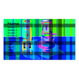 Modern multicolored vases in green blue plaid pack of standard business cards