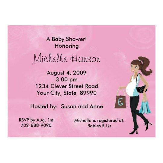 Modern Mum Pink Baby Shower Invitation Postcard