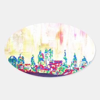 Modern Munich Skyline Silhouette in Neon Oval Sticker