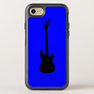 Modern Music Black Bass Guitar on Blue OtterBox Symmetry iPhone 8/7 Case