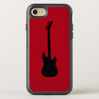 Modern Music Black Bass Guitar on Dark Red OtterBox Symmetry iPhone 8/7 Case