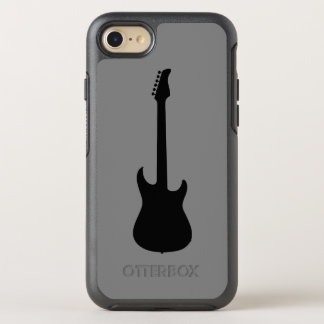 Modern Music Black Electric Guitar on Medium Gray OtterBox Symmetry iPhone 8/7 Case