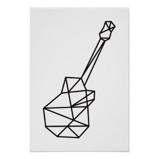 modern music geometric guitar on white poster