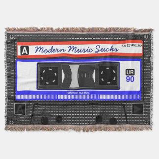 Modern Music Sucks Retro Compact Cassette Funny Throw Blanket