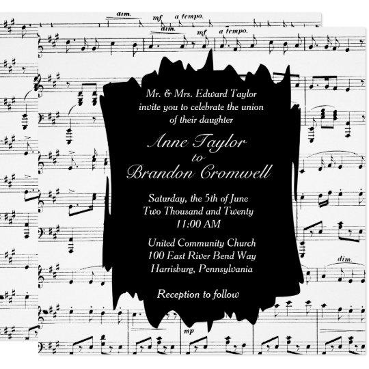 Modern Music Theme Wedding Invitation