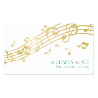 Modern Musical Business Branding Gold Music Notes Pack Of Standard Business Cards