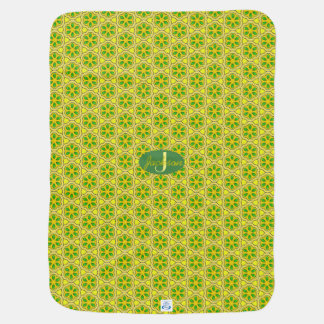 Modern Mustard Geometric Pattern with Monogram Baby Blanket