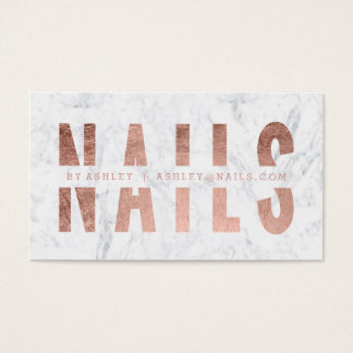 Modern nails cut out rose gold typography marble business card