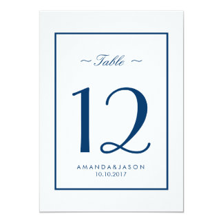Modern Nautical Blue White BORDER Wedding TABLE Card