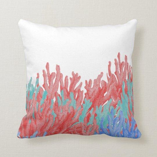 Modern nautical coral teal blue reef floral cushion