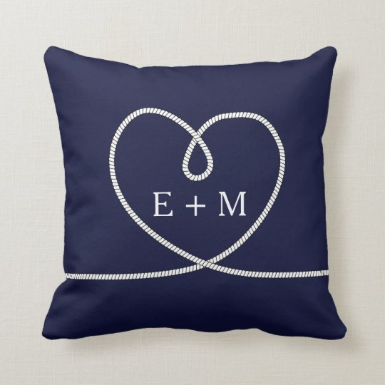 Modern Nautical Heart Rope Monogram Decorative Cushion