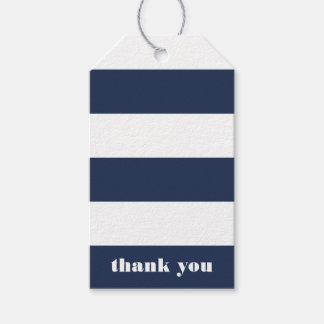 Modern Nautical Navy & White Stripe Thank You Gift Tags