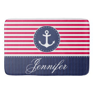 Modern Nautical Red Blue Anchor Personalized Bath Mat