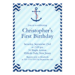 Modern Nautical Sailboat Anchor Birthday Party Personalized Invites