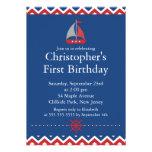 Modern Nautical Sailboat Birthday Party Invitation