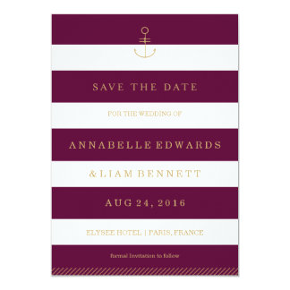 Modern nautical save the date card