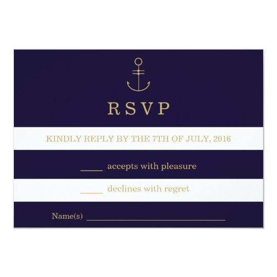 Modern nautical stripes wedding RSVP card