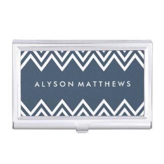 Modern Navy and White Chevron Business Card Holder