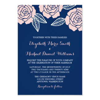 Modern Navy Blue and Blush Pink Rose Wedding 13 Cm X 18 Cm Invitation Card