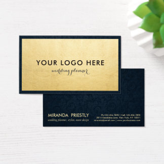 Modern Navy Blue and Faux Gold Foil Luxe Creative Business Card