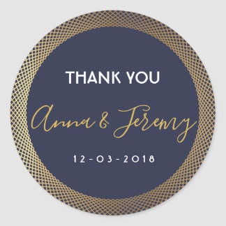 Modern navy blue and gold wedding sticker
