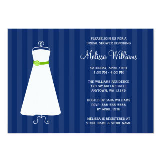 Modern Navy Blue and Green Gown Bridal Shower 13 Cm X 18 Cm Invitation Card