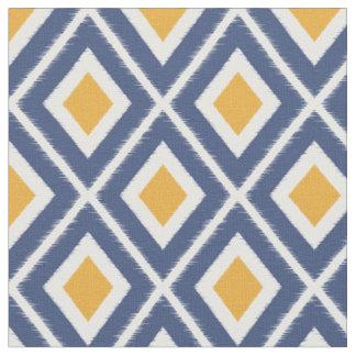 Modern Navy Blue and Mustard Yellow Ikat Pattern Fabric