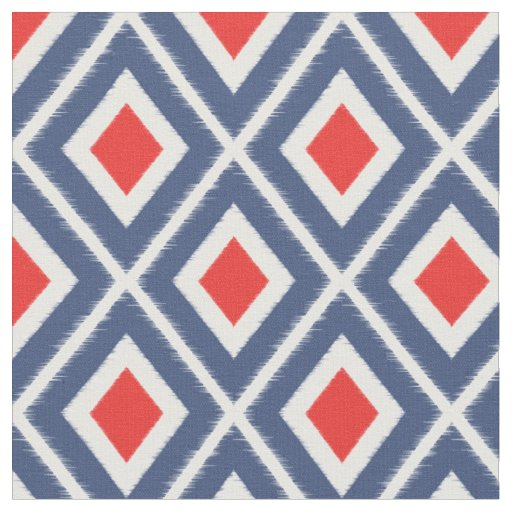 Modern Navy Blue and Red Ikat Pattern Fabric