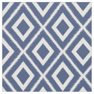 Modern Navy Blue and White Ikat Pattern Fabric