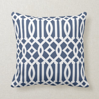 Modern Navy Blue and White Imperial Trellis Cushion