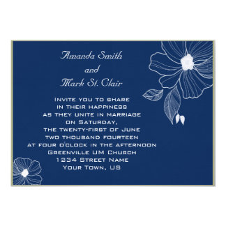 Modern Navy Blue and White Wedding Invitation