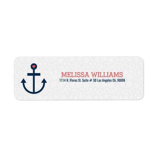 Modern Navy-Blue & Coral-Red Nautical Boat Anchor