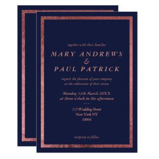 Modern navy blue faux rose gold elegant Wedding Card